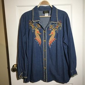 BOB MACKIE Denim Reindeer Button Down Shirt sz 2XX